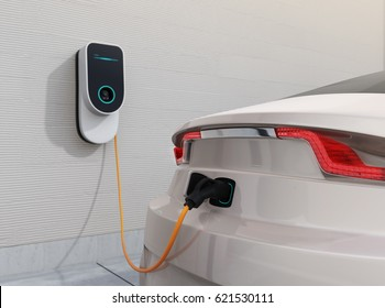 Electric vehicle charging station for home.  3D rendering image.