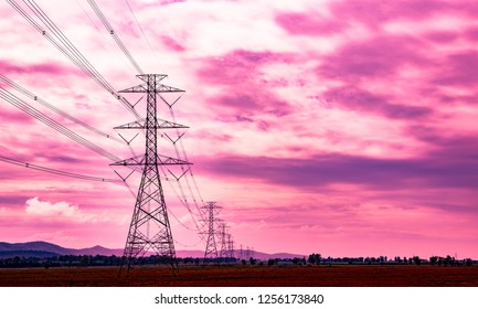 Electric voltage pole source of electric power transmission to city and the other villages in countryside landscape of Thailand looks fresh and romantic.