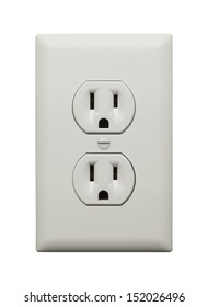 Electric Wall Socket with Wall Plate Isolated on White Background.