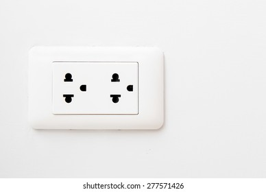 Electric Wall Socket with Wall Plate Isolated on White Background