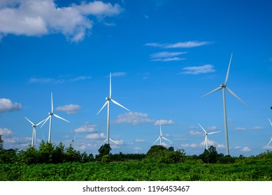 Electric wind turbine generating with blue sky and turbo generator