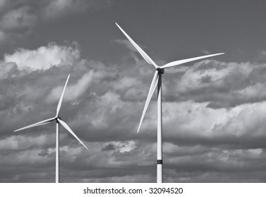 Electric Windmill, against cloudy sky on a windy day
