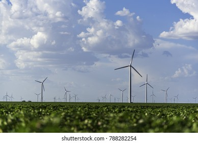 Electric windmills and cotton fields