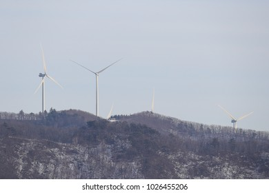 Electric windmills in the mountains