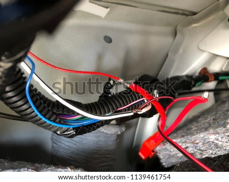 electric wire automotive wiring electricity current stock photo