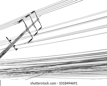 Electric wire electric tower on white background, Thailand