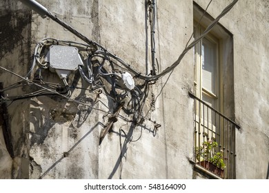 Electric wires at an old house