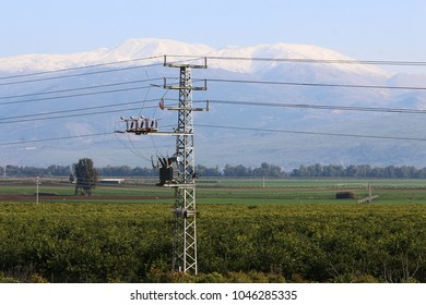electric wires on support