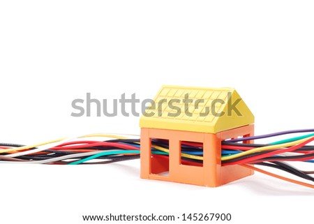 electric wires string through model house stock photo edit now rh shutterstock com  wiring a model house project