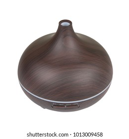 Electric wooden aroma oil diffuser isolated on white background