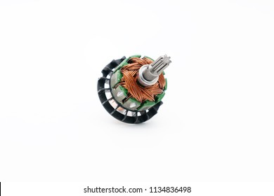 Electrical armature assembly isolated on white background. dc motor, starter anchor motor.