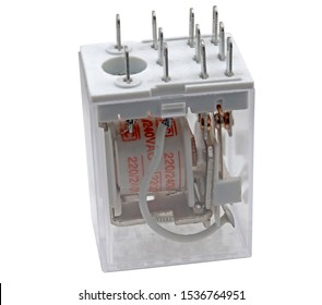 Electrical auxiliary relay in transparent plastic cases on white background