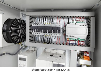 Electrical background,voltage switchboard with circuit breakers.