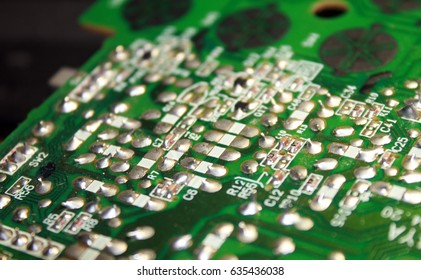 Electrical board with electronic components. High-tech printed circuit board.