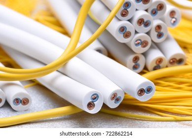 Electrical cable closeup, energy and technology equipment