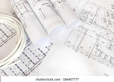 Electrical cable on the construction drawings. Repair and construction of electric systems