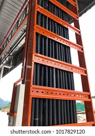 Electrical cable tide at cable ladder supply from electrical room to main factory