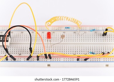 Electrical circuit assembled on breadboard. Breadboard electrical for learn for beginners and electric parts.
