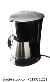Electrical coffee machine with stainless steel coffee pot isolated on the white background
