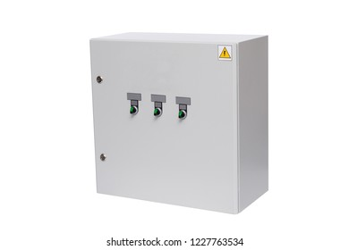 Electrical control box on a white background