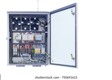 electrical control Cabinet with an open door isolated on a white background/modern electrical control Cabinet with the door open, close-up