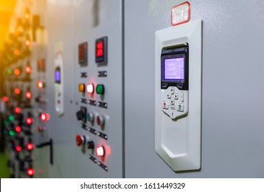 Electrical control panel ,electrical selector ,button switch ,electrical switch gear at Low Voltage motor control center cabinet in coal power plant. blurred for background in factory