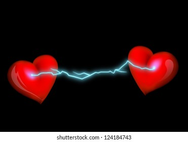 electrical discharge between the hearts