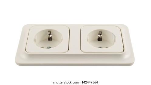 Electrical double jack white plastic socket isolated over white background