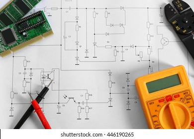 Electrical drawing with tools closeup