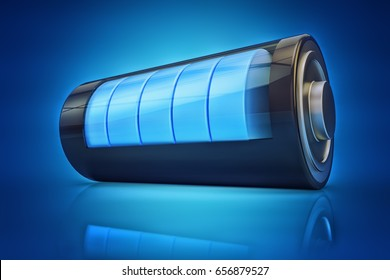 Electrical energy and power supply source concept, accumulator battery with charging level indicator on blue background, 3d illustration