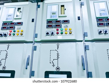 electrical energy  substation in a power plant.,Industrial electrical switch panel at substation of power plant.