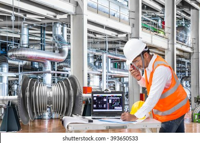 Electrical engineer working at modern thermal power plant