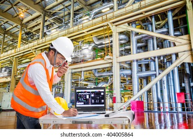 Electrical engineer working in modern thermal power plant