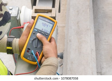 Electrical equipment (Insulation tester) for measure insulation resistance between electrical part with grounding or earth for protect short circuit. Selective focus.
