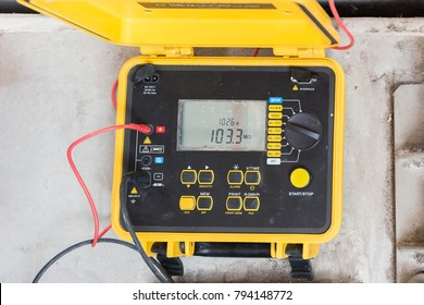 Electrical equipment (Insulation tester) for measure insulation resistance between electrical part with grounding or earth for protect short circuit.