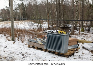 Electrical equipment to replace damaged parts after the terrible storm Alfrida in Roslagen in the east part of Sweden