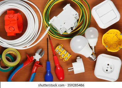 Electrical equipment and  tools on the desk
