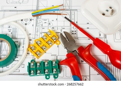 Electrical equipment and tools on house plans