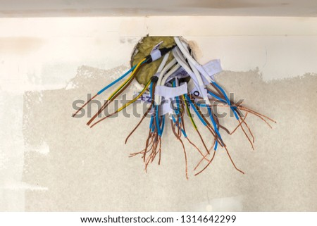 Astounding Electrical Exposed Connected Wires Protruding Socket Stock Photo Wiring Digital Resources Inamasemecshebarightsorg