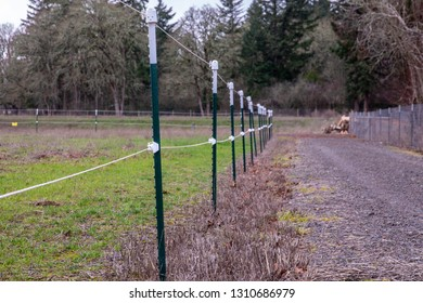 Electrical fence around pasture perimeter at a local farm