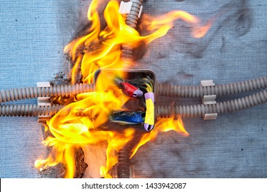 Electrical fire dangers at home. Electrical system burn out because of faulty wires. Burned wires are cause problems for the whole electric system.