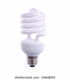electrical fluorescent energy-saving lamp isolated on white