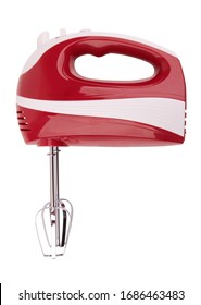 Electrical hand mixer and dishware isolated on a white background