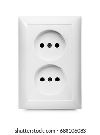 Electrical jack white plastic power socket isolatedon a white background