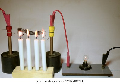 An electrical lamp is supplied with current trough a wound-up iron wire as a serial resistor. As the resistor is heated with candles, the resistance rises and the lamp fades remarkably