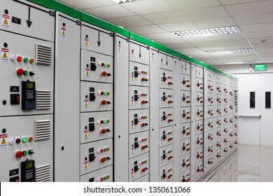 Electrical low voltage switchgear in swithgear room at factory or power plant