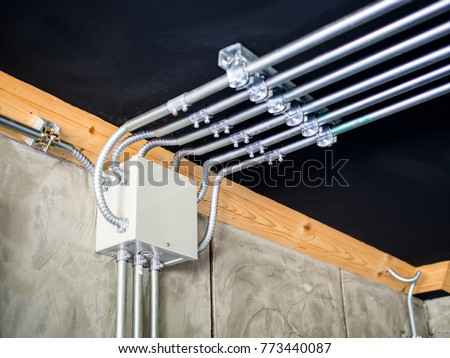 Fantastic Electrical Metal Conduit Work Installation Electrical Stock Photo Wiring Cloud Usnesfoxcilixyz