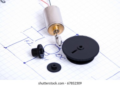 Electrical motor and gears over schematic
