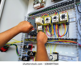 electrical motor stater during wiring work
