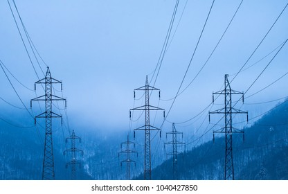 electrical network in blue mood in mountain